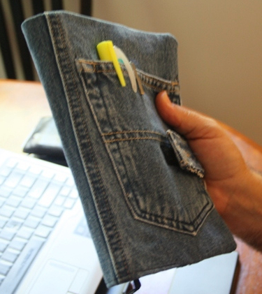jeans repurposed as a book cover