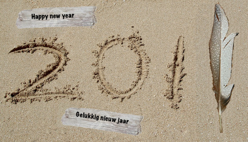 the year 2013 written on a sandy beach