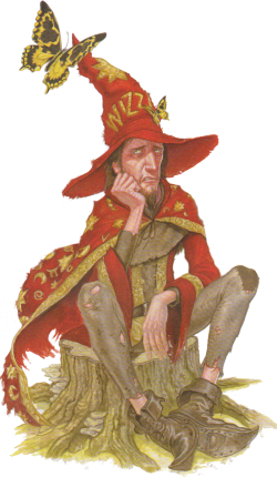 Rincewind, wizzard in  Discworld novels by Terry Pratchett.