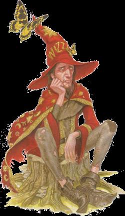 Rincewind, wizzard in  Discworld novels by Terry Pratchett.